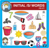 Initial /s/ words Clip art in Color and B&W