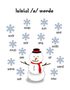 Winter freebie: Initial /s/ words