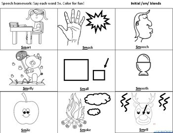 Initial /sm/ blends in words coloring sheet