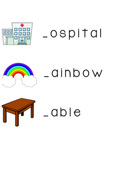 Initial sound and picture match word cards