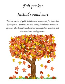 Fall themed packet - initial sound sort activities