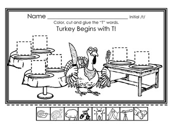 Initial /t/ Thanksgiving themed worksheet