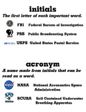 Initials and acronyms