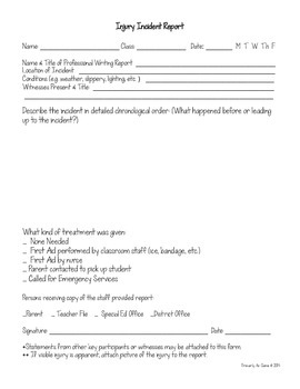 Injury Incident Report Form (Printable & Editable)