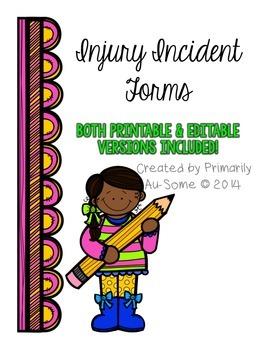Injury Incident Report Form (Printable & Editable)