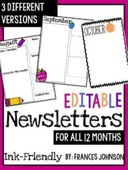 Editable Newsletters For All 12 Months
