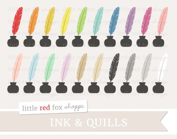 Ink & Quill Clipart; Literature, Stationery, Vintage