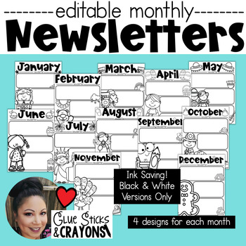 Ink Saving Editable Monthly Newsletters