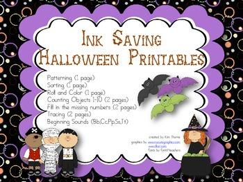 Ink Saving Halloween Printables