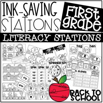Ink Saving Stations - Literacy - 1st Grade - BACK TO SCHOOL