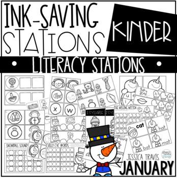Ink Saving Stations ~ Literacy - January - Kindergarten