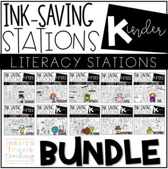 Ink Saving Stations - Literacy - Kindergarten - THE BUNDLE