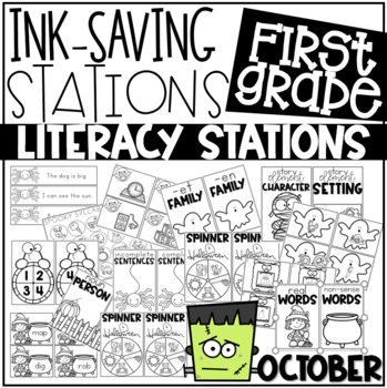 Ink Saving Stations - Literacy - OCTOBER - 1st Grade