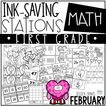 Ink Saving Stations - Math - 1st Grade - FEBRUARY