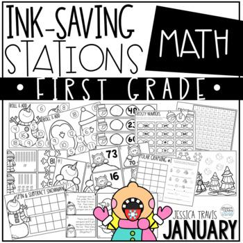 Ink Saving Stations - Math - 1st Grade - JANUARY
