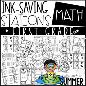 Ink Saving Stations - Math - 1st Grade - SUMMER