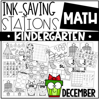 Ink Saving Stations - Math - DECEMBER - Kindergarten