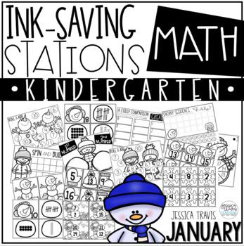 Ink Saving Stations - Math - JANUARY ~ Kindergarten