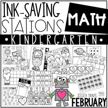 Ink Saving Stations - Math - Kindergarten - FEBRUARY