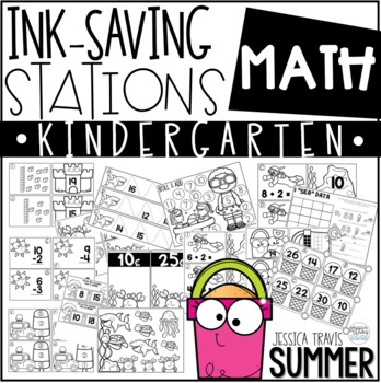 Ink Saving Stations - Math - Kindergarten - SUMMER