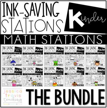 Ink Saving Stations - Math - Kindergarten - THE BUNDLE