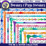 Ink & Water Borders & Page Dividers Clip Art