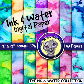 #MayTptClipLove Ink & Water Digital Paper Backgrounds