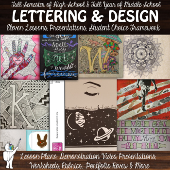 Introduction to Lettering, Ink and Design - Semester Visual Art Lesson  Bundle