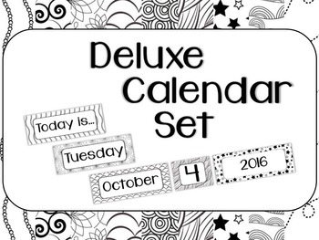 Inksaver Calendar Kit - 10 Black and White Patterns - Stars Flowers Swirls
