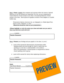 Innate and Learned Behaviors Project