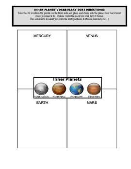 Inner Planets (Planets & Space - 2 Vocabulary Puzzles and Sort)