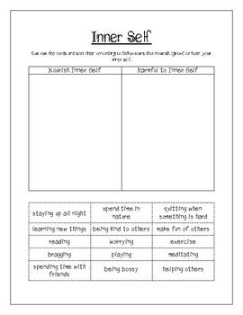 Inner Self Sort *Saskatchewan Grade 3 Curriculum Correlated*