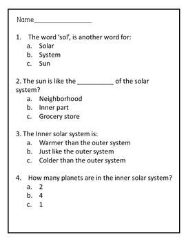 Inner Solar System Reading Comprehension Activity
