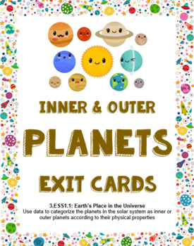 Inner and outer planets solar system exit cards