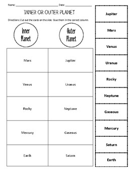 Inner or Outer Planet? Cut & Paste Worksheet