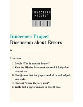 Innocence Project - A discussion about Type I Errors