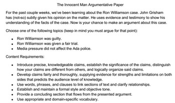 Innocent Man Argumentative Paper Assessment and Rubric