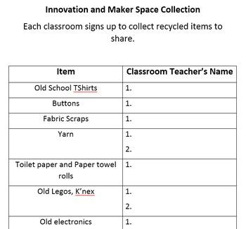 Innovation & Maker Space Teacher Supply Sign Up List