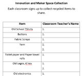 Innovation & Maker Space Teacher Supply Sign Up List