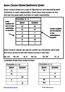 Input Output Boxes Lesson for Interactive Math Notebooks