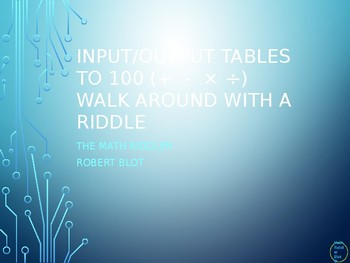 Input Output Tables 4 Operations Walk Around or Gallery Walk with a Riddle