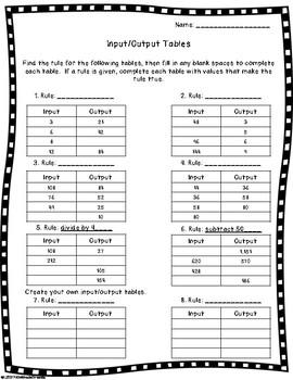 Input/Output Tables FREEBIE