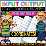 Input Output Tables ⭐⭐⭐⭐ Whats My Rule? Graph Grid Worksheets 48-Pages EDITABLE!