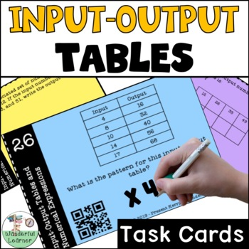 Input Output Tables & Numerical Expressions Task Cards QR Codes
