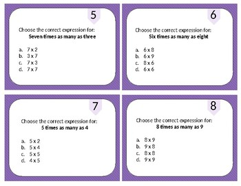 Input Output and Multiplication Comparison Task Cards