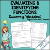 Evaluating and Identifying Functions Worksheet