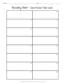 Input and Output Task Cards - Patterns - Function Tables - Algebra - Math