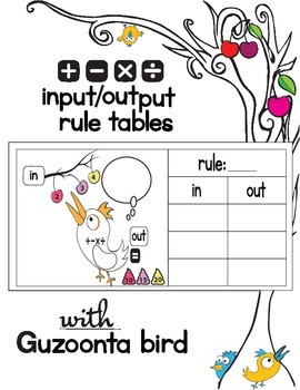 Input and Output Rule Tables (all operations +, -, x, /) Lesson&Activity Sheets