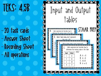 Input and Output Tables Task Cards