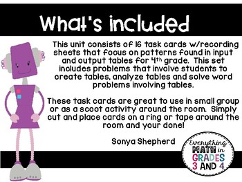 Input and Output Tables Task Cards - TEKS 4.5B